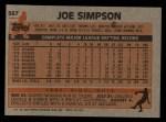 1983 Topps #567  Joe Simpson  Back Thumbnail