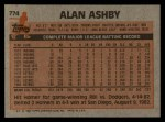 1983 Topps #774  Alan Ashby  Back Thumbnail