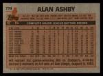 1983 Topps #774  Alan Ashby  Back Thumbnail
