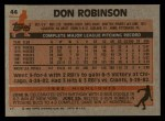 1983 Topps #44  Don Robinson  Back Thumbnail