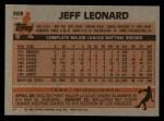 1983 Topps #309  Jeff Leonard  Back Thumbnail