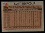 1983 Topps #674  Kurt Bevacqua  Back Thumbnail