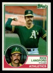 1983 Topps #286  Rick Langford  Front Thumbnail