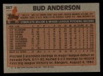 1983 Topps #367  Bud Anderson  Back Thumbnail