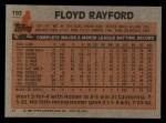1983 Topps #192  Floyd Rayford  Back Thumbnail