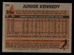 1983 Topps #204  Junior Kennedy  Back Thumbnail