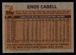 1983 Topps #225  Enos Cabell  Back Thumbnail
