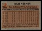 1983 Topps #778  Richie Hebner  Back Thumbnail