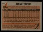 1983 Topps #691  Dave Tobik  Back Thumbnail