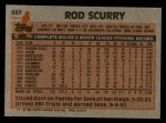 1983 Topps #537  Rod Scurry  Back Thumbnail