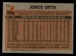 1983 Topps #722  Jorge Orta  Back Thumbnail
