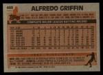 1983 Topps #488  Alfredo Griffin  Back Thumbnail