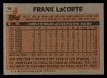 1983 Topps #14  Frank LaCorte  Back Thumbnail