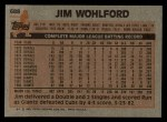 1983 Topps #688  Jim Wohlford  Back Thumbnail