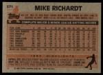 1983 Topps #371  Mike Richardt  Back Thumbnail