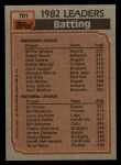 1983 Topps #701   -  Willie Wilson / Al Oliver Batting Leaders Back Thumbnail