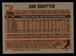1983 Topps #675  Jim Beattie  Back Thumbnail