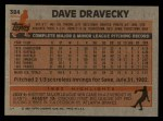 1983 Topps #384  Dave Dravecky  Back Thumbnail