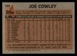 1983 Topps #288  Joe Cowley  Back Thumbnail
