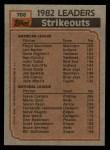 1983 Topps #706   -  Steve Carlton / Floyd Bannister ERA Leaders Back Thumbnail