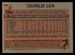 1983 Topps #629  Charlie Lea  Back Thumbnail