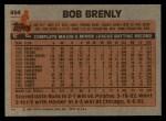 1983 Topps #494  Bob Brenly  Back Thumbnail