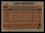 1983 Topps #32  Dave Bergman  Back Thumbnail