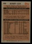 1983 Topps #606  Bobby Cox  Back Thumbnail