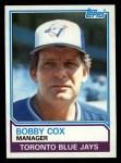 1983 Topps #606  Bobby Cox  Front Thumbnail