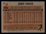 1983 Topps #542  Jody Davis  Back Thumbnail