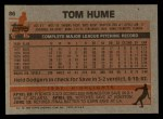 1983 Topps #86  Tom Hume  Back Thumbnail