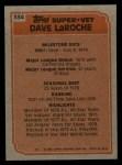 1983 Topps #334   -  Dave LaRoche Super Veteran Back Thumbnail