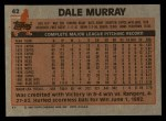 1983 Topps #42  Dale Murray  Back Thumbnail