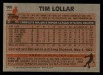 1983 Topps #185  Tim Lollar  Back Thumbnail