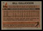 1983 Topps #31  Bill Gullickson  Back Thumbnail