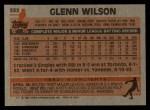 1983 Topps #332  Glenn Wilson  Back Thumbnail