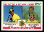 1983 Topps #531   -  Rick Langford / Rickey Henderson Athletics Leaders Front Thumbnail