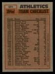 1983 Topps #531   -  Rick Langford / Rickey Henderson Athletics Leaders Back Thumbnail