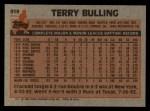 1983 Topps #519  Terry Bulling  Back Thumbnail