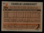 1983 Topps #607  Charlie Leibrandt  Back Thumbnail