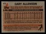 1983 Topps #472  Gary Allenson  Back Thumbnail