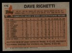 1983 Topps #176  Dave Righetti  Back Thumbnail