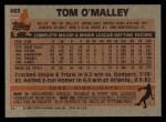 1983 Topps #663  Tom O'Malley  Back Thumbnail
