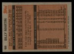 1983 Topps #156  Billy Martin  Back Thumbnail