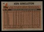 1983 Topps #85  Ken Singleton  Back Thumbnail
