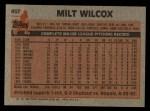 1983 Topps #457  Milt Wilcox  Back Thumbnail