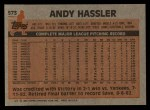 1983 Topps #573  Andy Hassler  Back Thumbnail