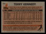 1983 Topps #274  Terry Kennedy  Back Thumbnail