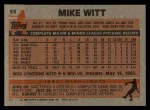 1983 Topps #53  Mike Witt  Back Thumbnail