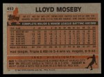 1983 Topps #452  Lloyd Moseby  Back Thumbnail